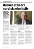 Ønsker et bedre nordisk arbeidsliv