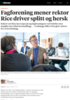 Fagforening mener rektor Rice driver splitt og hersk