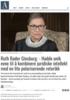 Ruth Bader Ginsburg: - Hadde unik evne til å kombinere juridiske intellekt med en lite polariserende retorikk