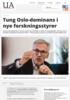 Tung Oslo-dominans i nye forskningsstyrer